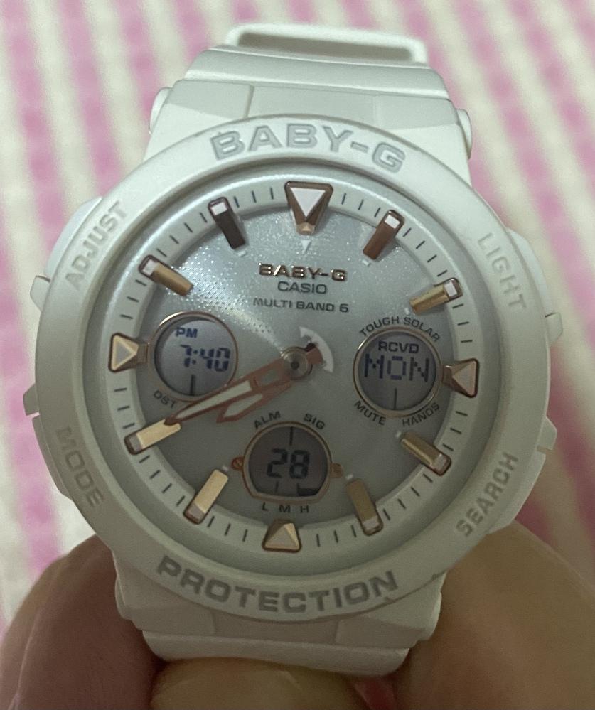 腕時計の左の画面の表示を日付にしたいです。BABY-GのMULTI BAND6 5568です。マニュアルはこちらです。https://support.casio.jp/storage/pdf/002/qw5568.pdf