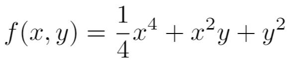以下の2変数の関数について二階導関数行列(ヘッセ行列)を求めて、その行列が正定値となることを示してください。