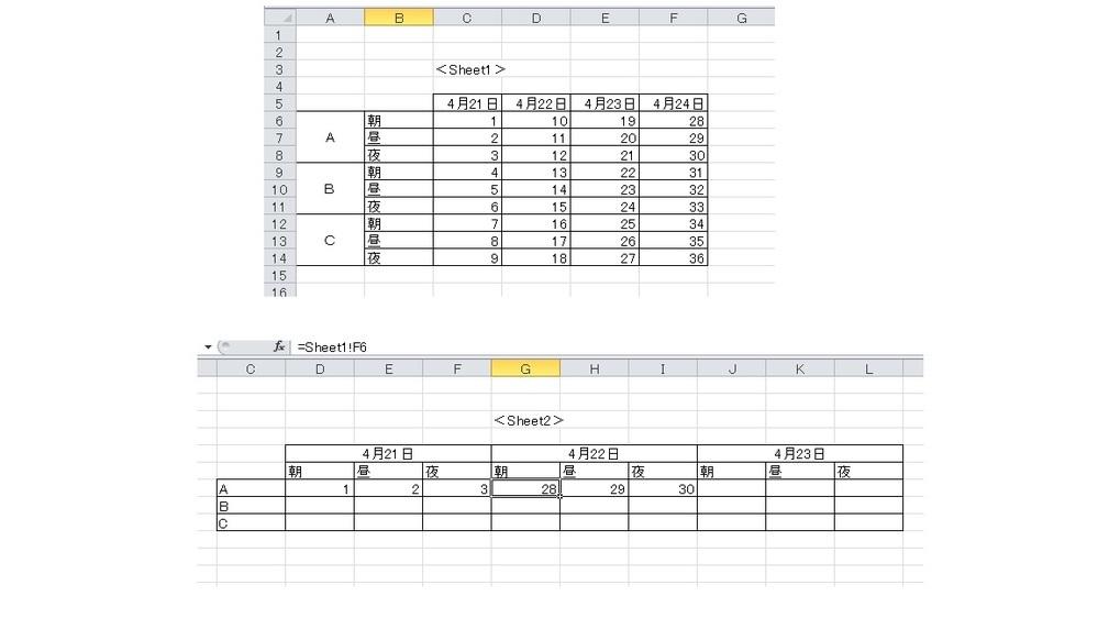 エクセルのオートフィルについて教えてください。 ・画像の様にSheet1で縦に並んでいるデータをSheet2で横に読み出したい。 Sheet2のD7には「=Sheet1!C6」、E7には「=Sheet1!C7」、F7には「=Sheet1!C8」がそれぞれ入力されています。 この状態でSheet2のD7,E7,F7の3つのセルを選択し、オートフィル機能を使って右にドラッグすると、画像の様に...