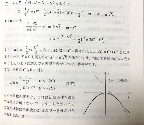 常微分方程式について解説でわからないところがあったので質問させていただきます。 問題は次の方程式を解けです。 x=x'(x'+t),x(0)=0. この解答が以下の図です。 解答の式(3.27)...