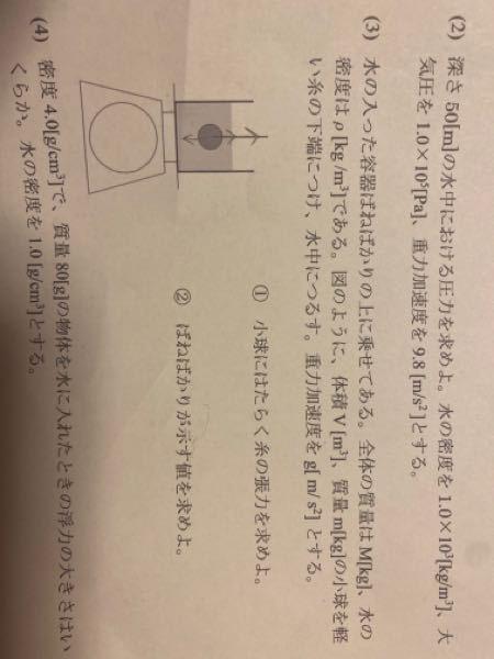 (3)の②を教えて下さい。物理です。張力の値と一緒ではないんですか?