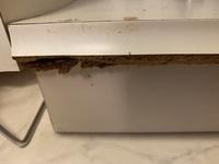 賃貸物件で、洗面台の下の排水パイプが外れ、水浸しになってしまいました。 管理会社に電話して、パイプは直してもらえたのですが、収納スペースの板が水で膨らみ、木屑がボロボロと出てきます(写真参照)。この板を変えるには、洗面台自体を変える必要があるそうで、大家さんは、入居者が変えて欲しいと言うのであれば、変えても良いとおっしゃっているようです。ただ、洗面台のサイズが今よりも小さいものになるので、洗...