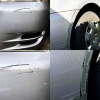 車を貸したところ、傷がついた状態で戻ってきました。 「いつ傷がついたのかわからない」と言うので、駐車場に停めていたときにこすられてしまったのだと思います。  画像のように、フロントバンパー(深緑色の...