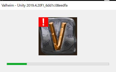 vortexでValheimを起動しようとすると、下記のような文字が出て、画像のような表示が出て、ゲームが起動しません。原因はなんでしょうか。 [Message: BepInEx] BepInE...