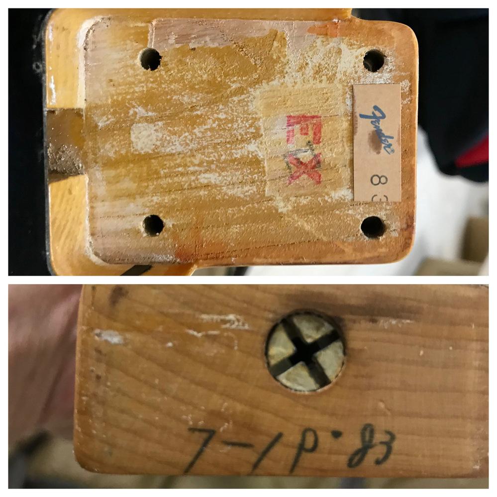 fender japanネックポケットのスタンプについて。 fender japan 83年TL52-65?を知人から譲り受けました。ネックポケットのスタンプを見ると写真のようにEXとなっています。このEXはどういった意味なのでしょうか?教えて欲しいです。