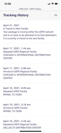 USPSを利用してアメリカ本土から荷物を送ってもらいましたが、シカゴの空港に届いてから2週間以上動きがありません。 日本からも調査を依頼することが出来るようですが、どのくらい待ってから依頼するべきでしょうか。  具体的には 4月9日に発送 4月11日にシカゴ国際空港に到着 4月17日にシカゴ国際空港を出発 と記載されているものの 4月20日及び4月21日は、次の施設に輸送中 ...