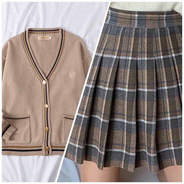高校の制服が右のようなスカートで 左のカーディガンを買おうか 悩んでいるのですが変でしょうか? また、上のブレザーは濃い灰色です