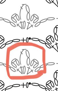 編み図の読み方を教えてください。 画像の赤丸部分ですが、2点お聞きしたいです。 1.下の段の引き抜き編み後、3目で立ち上がり、長編み→細編み→鎖3目→細編み…と編めばいいのでしょうか。 2.戻ってきた後は、引き抜き編みをせず次の段の鎖1目立ち上がりを行っていいのでしょうか。  よろしくお願いいたします。