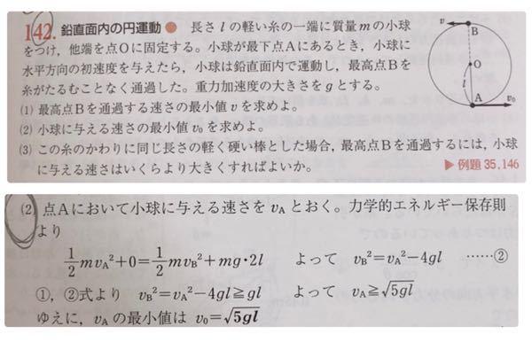 高校 物理の問題です。上が問題で下が回答です。 この問題の(2)なのですが、小球に与える速さの最小値を求めるのに、vAの最小値を求めているのは何故ですか?