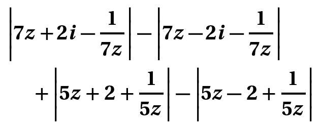 z が 0 でない複素数のとき、以下の式の最大値を教えてください。