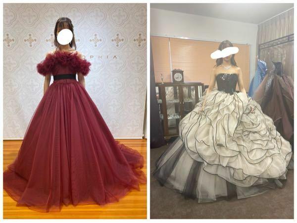 カラードレス迷子です どちらがパッと見素敵でしょうか? 皆さんの意見が聞きたいです。 顔は童顔で、20代後半です。 回答よろしくお願いします ♀️