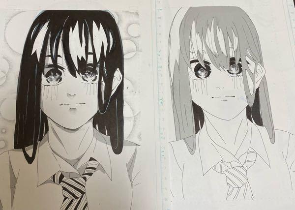 中2漫画志望です。描いた1ページのどっちを採用しようか迷っています。どっちの方がいいと思いますか? 右は未完成です。 下手なのは勘弁してください