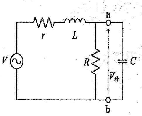 電気回路の問題です ①図のように端子対a-bに静電容量Cを接続した所、電圧源の力率が1になったという。このときのCをω、R、Lを用いて表わせ。さらにCが実数となるための条件を求めよ。 ②図の回路について、端子対a-bに接続した静電容量Cを加減して得られる端子電圧Vabの最大値とその時のCの値を求めよ 何卒よろしくお願いします。