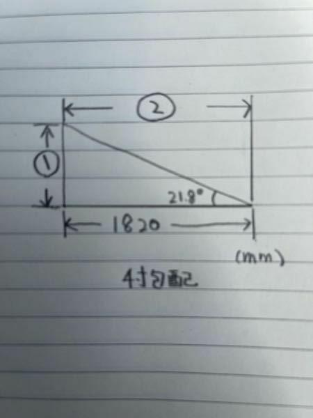 小屋DIYでの質問です。 ①と②の長さはどのくらいになりますでしょうか? 建築関係に詳しい方おられますか?