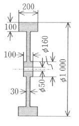 図に示す鋳鉄製のはずみ車の回転軸周りの慣性モーメント及び回転半径を求めよ.但し,鋳鉄の密度を7200kg/m3とする.図中の単位はmmとする. この問題わかる方いますか?