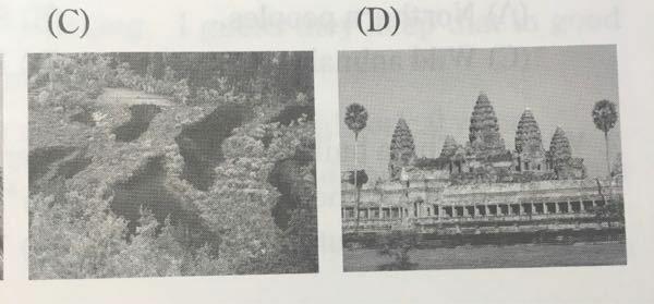 白黒でわかりにくいかもしれないんですが、この二つの世界遺産の名前を教えてください。