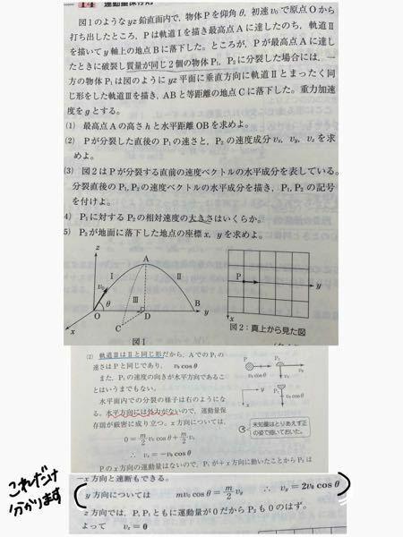 ⑵が分かりません。 軌道で考える場合と運動量保存則で考える場合は何に違いがあるのでしょうか。 ■⑵の解説の軌道3は2と同じ形だから…ならP1はP2 とも同じ軌道なんだからP1とP2の速さ同じやろとか思ったり… ■x軸の運動量保存を考えたら 0=mv でP1のx軸の速度は0やんとか思ったり… ■あと最後のz軸で運動量が0だから…も???です 最初にPはz軸にv0sinθの速度を持って...