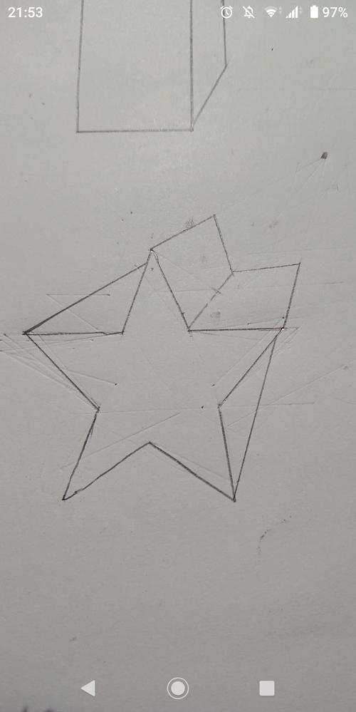 至急です。一点透視図法で書いた星なんですけどなんかおかしくないですか?何かおかしいのであれば教えてください。