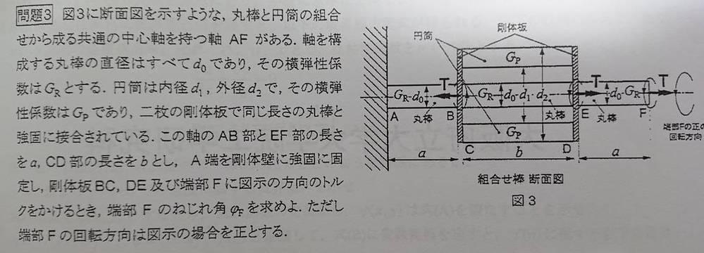 大学3回生の者です。 材料力学について質問です。 下記の問題の解法をどなたか分かる方いれば教えて頂けないでしょうか。 その他不明なことがあれば仰って下さい