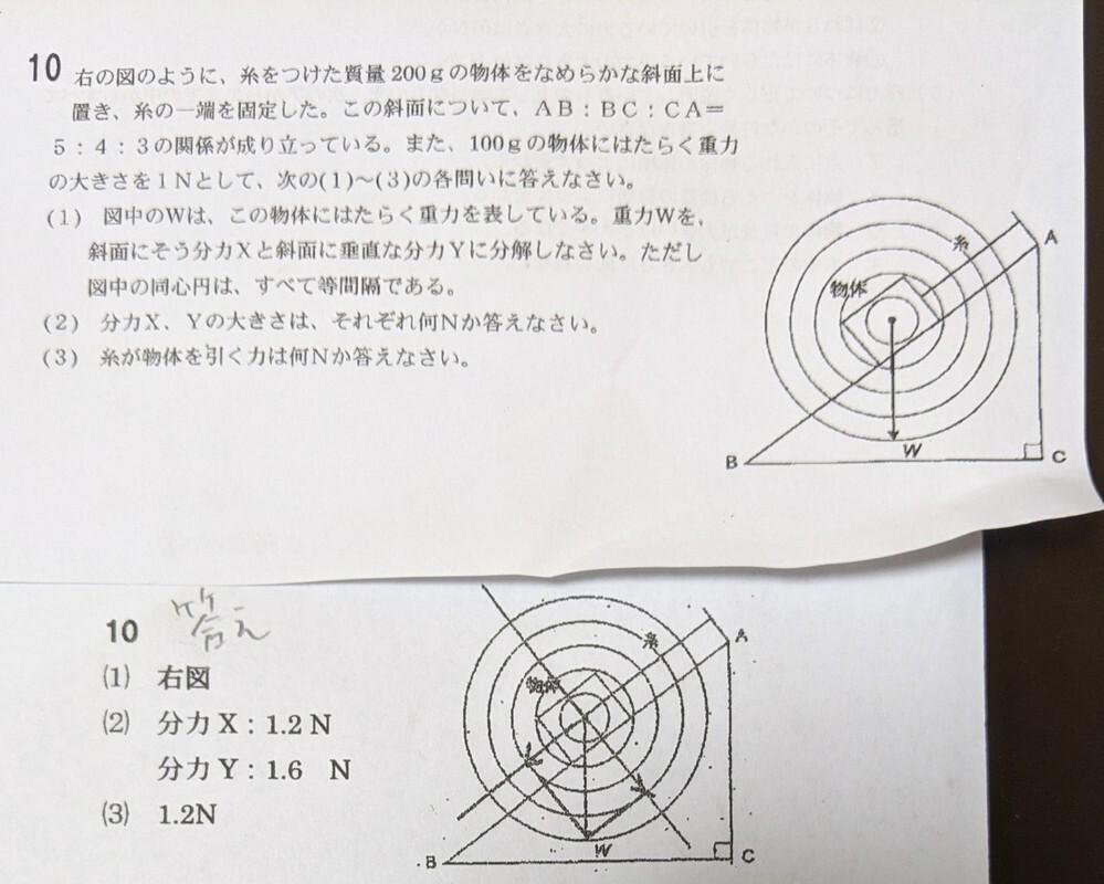 力のつり合いの問題について教えてください。 苦手な理科なので よろしくお願いいたします。