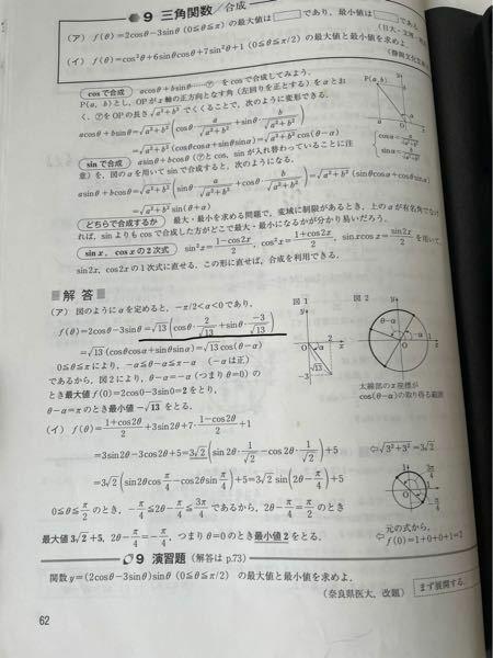 一対一数学2のP62 の(ア)です。 黒線の部分がよく分かりません。なぜcosθ×√13分の2 sinシータ×√13分の-3 などとcosとsinをそれぞれ掛けるのですか?