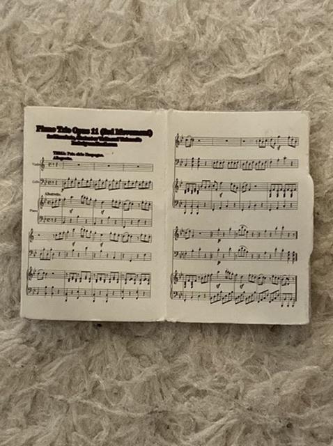 この楽譜の名前を教えてください。これはシルバニアファミリーのピアノセットについていた楽譜で、2センチ四方位の大きさです。 なるべく拡大しましたが、字が潰れて読めません。音楽の知識もないので、何となくもわかりません。そもそも実在の曲かもわかりませんが……。わかる方、どうぞよろしくお願いします!