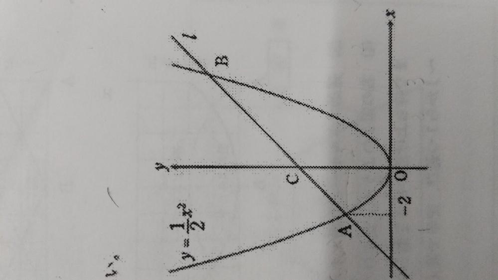 図のように、2次関数y=2分の1X^2は直線Lと2点A.Bで交わり、直線Lはy軸と点Cで交わっている。 点Aの座標が−2であり、△OACと△OABの面積比が1:3であるとき、直線Lの式を求めなさい。 答えがy=x+4なのですが、解き方を教えていただきたいです。
