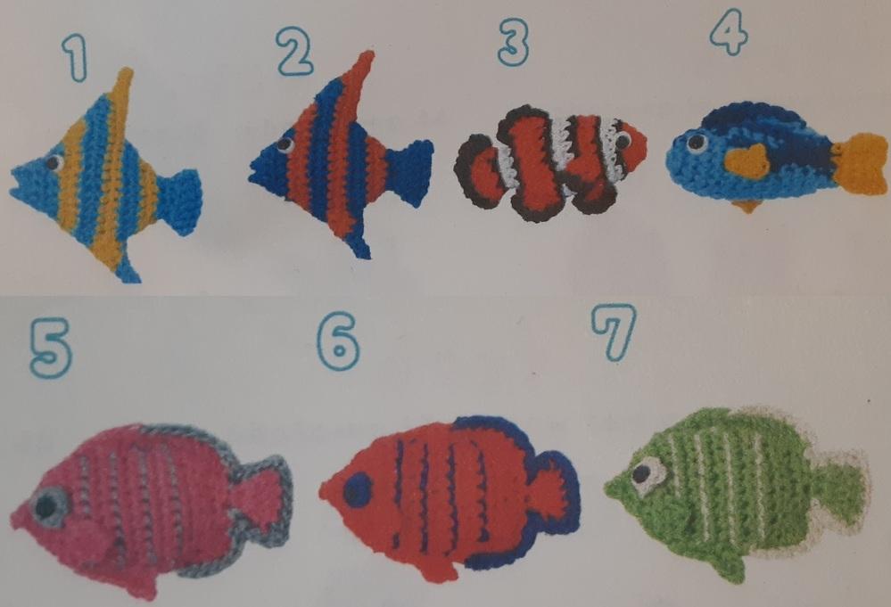 編み物の本で見かけた、画像の魚の名前を教えて下さいませんか。 「3」は、カクレクマノミかな、と思うのですが、「1・2」「4」「5・6・7」の、具体的な名前がわかりません。 画像のものと実際の魚と...