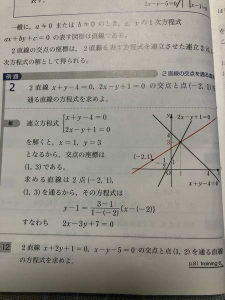 高校数学について質問です。 この例題2の問題を解くと、y=2/3x+7/3になったのですが教科書の答えは、2x-3y+7=0と書いてあります。これがテストだったとしたら、y=2/3x+7/3のままでは不正解になりますか?