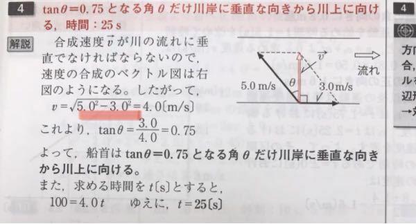 高校生です。物理についての質問です。 この写真で線を引いているところですが、なぜこの二つのベクトルを合成した大きさを求めるときに、速さの二乗同士を足すのではなく引いているのでしょうか。 足すときと引くときの違いを教えてください。