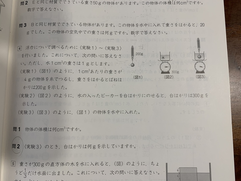 中学受験 理科 浮力の質問です。 問2の答えが350gになるのですが、なぜか分かりやすく教えて下さい。