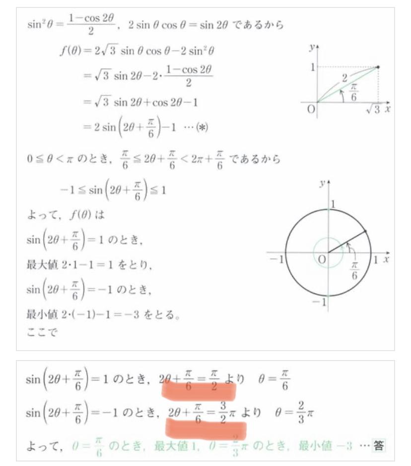 0≦θ<πのとき、関数f(θ)=2√3sinθcosθ-2sin²θの最大値、最小値を求めよ。また、そのときのθの値を求めよ。 という問題の解答の過程(マーカーのところ)が分かりません。誰か教えてください<(_ _)>