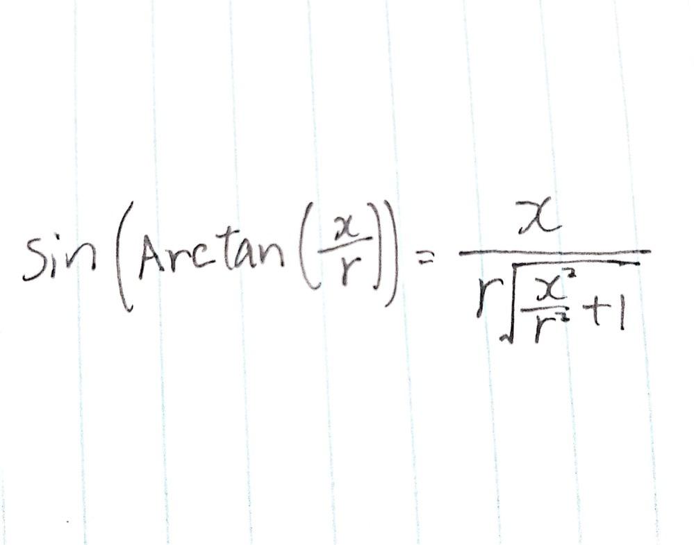 sin(arctan(x/r)) = x/(r√(x^2/r^2 + 1))の計算過程がわかりません。 式は画像のとおりです。ただ、どのような計算をしたらこの答えになるのかわからなかったのでこうして質問させていたたくことにしました。 よろしくおねがいします。