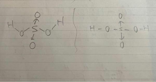 化学の授業の板書で僕の担当の教師が、硫酸の構造式を、写真の左側のように書いていたのですが、右のように価標を斜めにせず書いても問題ないですか?それともダメですか?