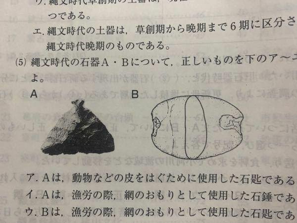 日本史の問題集で、Aは石匙だと分かったのですが、 Bのイラストがわかりません。 解説にも載っていませんでした。 ご存知の方はいらっしゃいませんか?