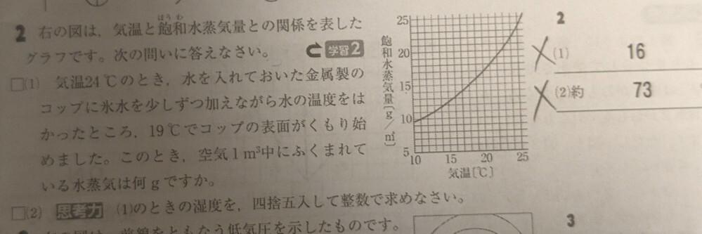 天気の問題を教えて下さい。 2(1)と(2)がなぜこの答えになるのか分かりません。 解説をお願いいたします。