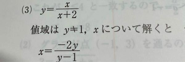 この上の式をxの式について解くと下の式になるようなのですが、どのような解き方をしているか分かりますか? 数Ⅲ 逆関数
