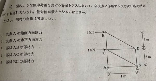 構造力学のトラスの問題なのですが、分かりません。 分かる人がいらっしゃいましたら解き方を教えて欲しいです。