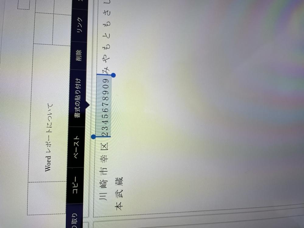 iPadでwordを使っているのですが、レポートで全角ひらがなと、半角の数字を打つのですが、 ひらがなと半角数字の間にどうしても微妙な隙間が空いてしまいます。隙間を埋める方法はあるのでしょうか? 写真の幸区と234・・・の間の微妙な隙間を左側にずらし、隙間をなくしたのですが、iPadではどのようにすればいいのでしょうか?パソコンではできるようなのですが、なんせiPadには右クリックというものがないもので・・・・・ わかる方いらっしゃいましたら教えてください。よろしくお願いします。