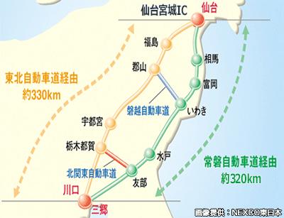 常磐自動車道の仙台側の終点は何故「亘理IC」なのですか? 仙台東部道路と仙台北部道路を経由して「富谷JCT・IC」なのでは?