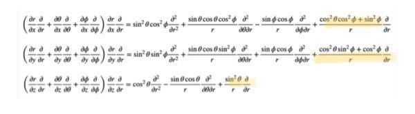 三次元曲座標でのラプラシアンの導出過程について質問です。 https://note.com/o3sochan/n/nd2881db12b1c を参考に導出過程を辿っているのですが、 途中にある写真の式で、マーカーを引いた項がどこから出てきたのかが全く分かりません。説明をお願いします。