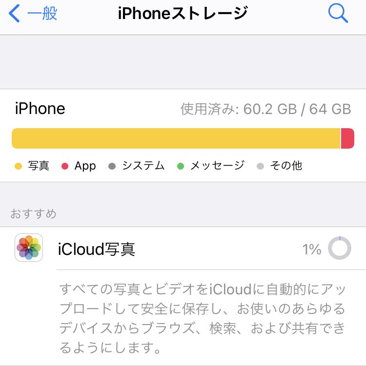 iPhone本体のストレージがいっぱいになってしまったためiCloudへ移動させようと思っています。iCloudの容量は200GBです。 ですが写真のように1%から進まず困っています。なにか原因があるのでしょうか。それとも時間をおけば進むのでしょうか。 また、iCloudへ写真を保存したらその分iPhoneのストレージは空くのでしょうか? 回答よろしくお願いします。