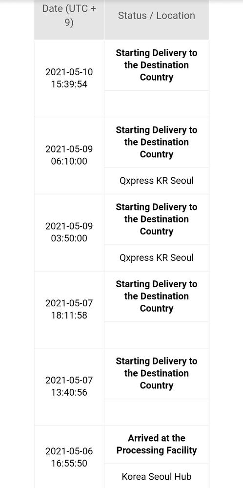 qxpressの追跡の見方 5月6日にq100で商品を注文し、PCから見ると一昨日には成田に到着しているようなのですが配送状況の表示がStarting Delivery to the Destination Country(仕向国へ配送開始)から変化しません。 qxpressでの配送は初めてなのですがこういうものなのでしょうか?それとも表示に不具合が起こっているのでしょうか?