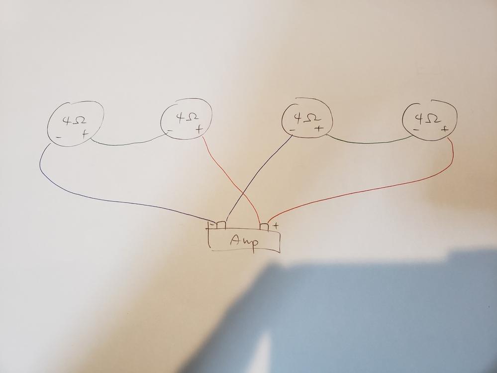 4Ωのスピーカーを4つ接続して全体の抵抗を4Ωにする場合、どのように接続すれば音響的に1番良いでしょうか。 画像のように考えたのですが、合ってますか?