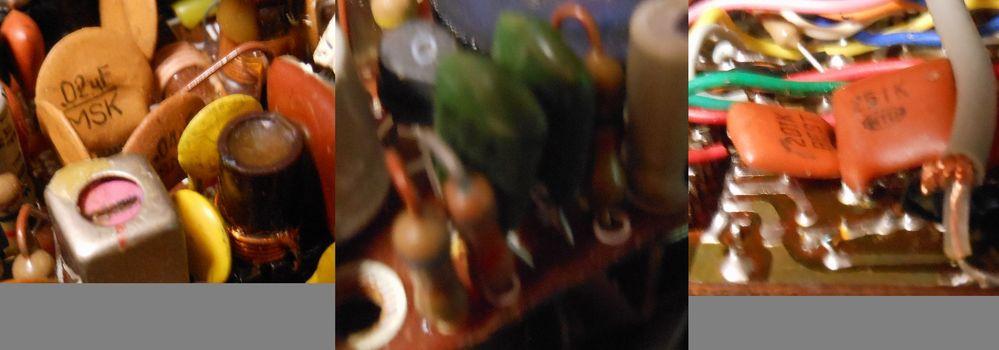 古い基板ですが、写真の部品を交換したいのですがセラミックコンデンサーが黄色と橙色があるのは一緒でしょうか? また、緑の長方形コンデンサーや正方形?の褐色コンデンサーはなんというコンデンサーでしょうか?部品発注するところで止まっています。 お手数かけて申し訳ありませんが、詳しい方の回答を早急にお待ちします。