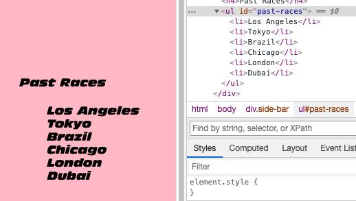 """DOMで要素の取得まで出来たのですが、取得した文字列を削除したいです。 どうしたら良いでしょうか。 const listRace = document.querySelector(""""#past-races li:nth-child(4)""""); //console.log(listRace) (listRace/""""Chicago""""の文字列を削除したい。) また初心者のため、取得の仕方に問題があれば、ご指摘ください。"""