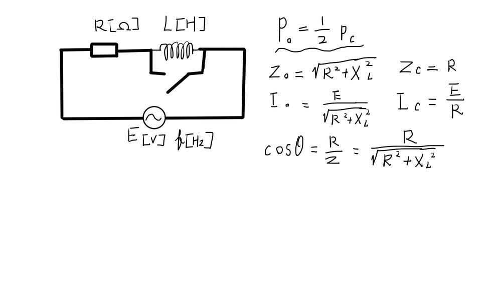 交流電流で図のスイッチon状態とスイッチ閉鎖状態の回路とPo=1/2Pcの条件からLの値を示せという問題があります。 それぞれIを求めてからP=RI^2を用いるのと、cosθを導いてからP=VIcosθを用いて回答を示すのでは同じ回答が得られました。 しかしもっとも簡単そうなP=V^2/Rを使って解こうとするとPo=E^2/√(R^2+XL^2) , Pc=E^2/R から条件に当てはめるとL=√3*R/2πfになって回答が違ってしまいます。 どこが間違っているのでしょうか。 そもそも参考書に交流電力の公式項目にP=RI^2=VIcosθとしか書いてないので交流ではP=V^2/Rは使えないのでしょうか。 低レベルは質問かもしれませんが初学者なので教えていただけるとありがたいです。