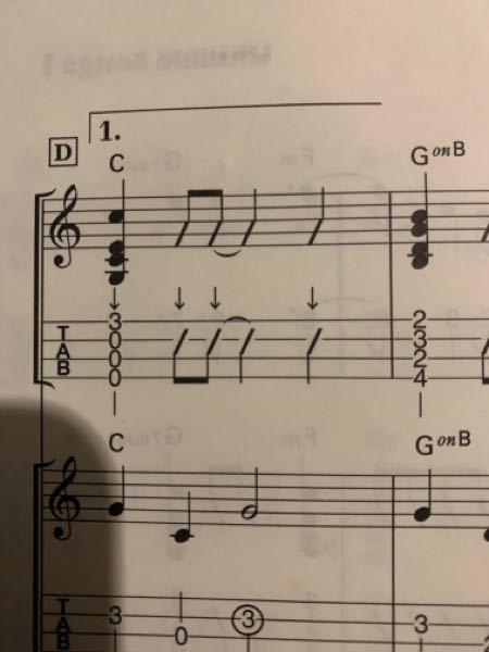 ウクレレの、TABの↓部分は、どうやって弾くんですか? 2弦の2フレットの意味と同じですか?