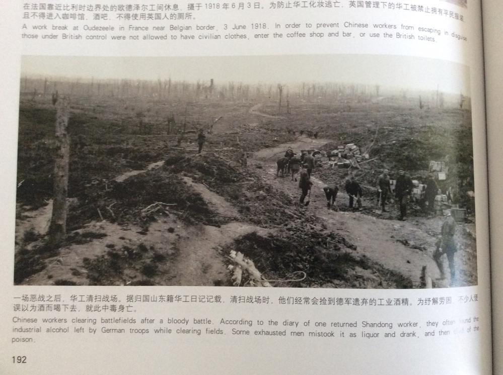 Chinese workers clearing battlefields after a bloody battle. According to the diary of one returned Shandong worker, they often found the industrial alcohol left by German troops while clearing fields. Some exhausted men mistook it as liquor and drank, and then died of the poison. この文章を日本語で翻訳して欲しいです、宜しくお願いします。