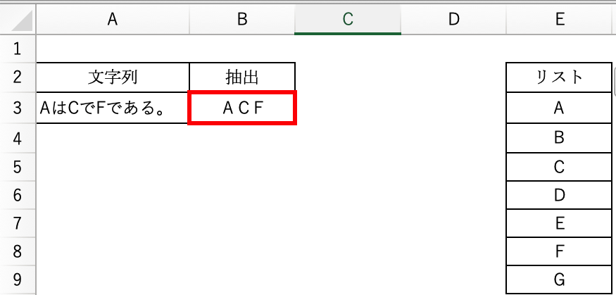 EXCEL 指定した文字列を抽出する方法 標記、画像B3セルに「A3セルにリスト(E3〜E9)に入っている文字が含まれている文字列があれば、それを抽出する」という関数を作りたいと思っています。 以下サイトの「実践的な使用方法」を見ましたが、リストが膨大になるとかなり関数が長くなるため、良い方法をご教示いただきたく、よろしくお願いいたします。 https://crossnote.jp/excel-text_extract/
